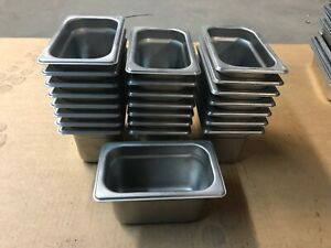 Set Of 23 Winco Stainless Steel 7 X 4 25 X 4 Insert Steam Table Food Pans