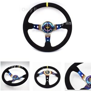 350mm Omp Titanium Blue Suede Leather Racing Car Rally Drift Steering Wheel