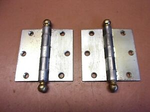 Vintage Pair Of 3 1 2 Unbranded Cannon Ball Door Hinges Brass Balls