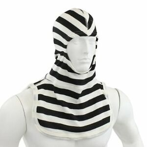 Nomex Fire Hood The Convict Black white Striped Fire Hood Notched Majesticpacii