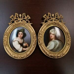 2 Antique Hand Painted Porcelain 1800s Boy Girl Plaques Bronze Beatrice Cenci
