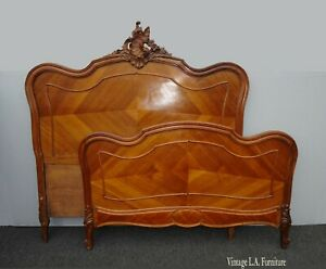 Antique French Rococo Louis Xvi Full Bed Frame Headboard And Footboard