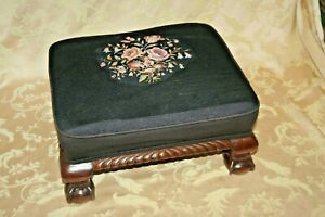 Antique English Walnut Claw Foot Stool W Black Floral Needlepoint Cushion