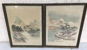 Chinese Pair Hand Painted Signed Landscape Prints W Silk Border