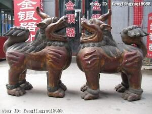 34 Chinese Wood Handwork Painted Carved Feng Shui Evil Fu Foo Dog Lion Pair