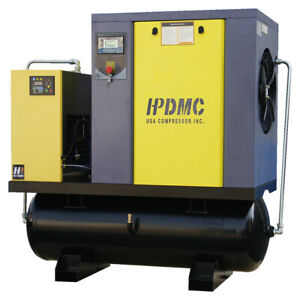 230v 3 ph 10hp Rotary Screw Air Compressor With 80 Gallon Tank air Dryer 39cfm