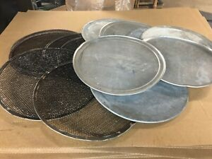Set Of 13 Commercial 16 Pizza Cooking Metal Trays Pans Solid Perforated Used