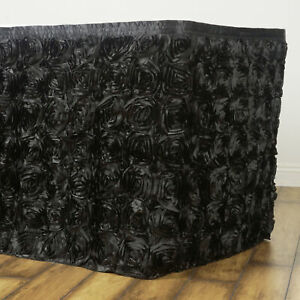 21 Black Satin Roses Table Skirt Tradeshow Wedding Party Catering Supplies
