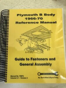 Plymouth B Body 1966 70 Reference Manual Guide To Fasteners General Assembly