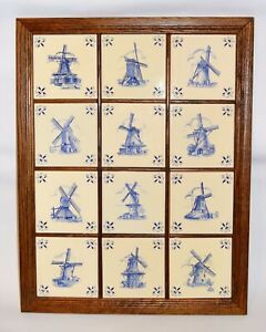 12 Vintage Dutch Delft Windmill Tiles Handcrafted Holland 28 X 21 Wood Frame