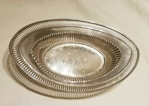 Antique Sterling Silver Filigree Monogrammed Serving Dish