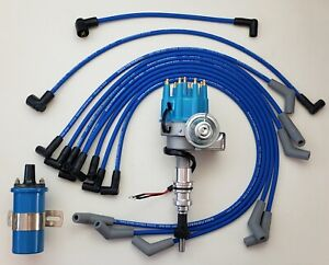 Ford 289 302 Blue Small Cap Hei Distributor Coil 8 5mm Spark Plug Wires