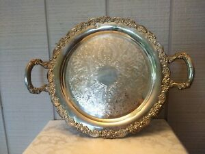 Onieda Silver Plate Double Handled Serving Tray Rose Detail