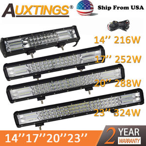 7d Tri Row 14 17 20 23 288w 324w Led Work Light Bar For Jeep Truck Boat