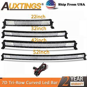 7d Tri Row 22 32 42 52 Curved Led Work Light Bar Combo For Jeep Truck Us