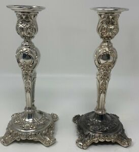Antique Pair Wm Rogers Son Silverplate Candle Sticks Victorian Rose 19 715