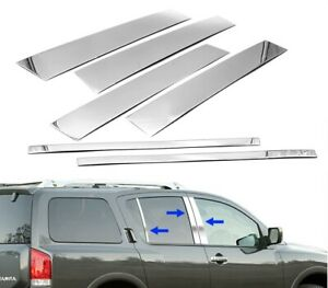 For 2005 2015 Nissan Armada Stainless Steel Chrome Window Door Pillar Post Trim