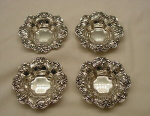 Set Of 4 Sterling Silver Reed Barton Francis I Nut Dishes No Monogram