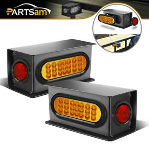 2 Truck Trailer Stop Turn Tail Marker Fender Light Combo Steel Bracket Box Kit