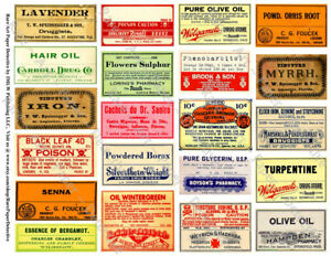 21 Druggist Labels Sticker Sheet Apothecary Labels Drug Store Pharmacy Decor