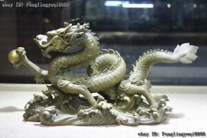 Chinese Zodiac Animal Fengshui Brass Copper Dragon Play Bead Lucky Dragon Statue