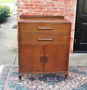 English Oak Antique Queen Anne Cabinet 2 Drawer 2 Door Chest Small Dresser