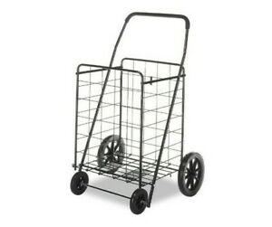 Grocery Cart On Wheels Laundry Shopping Folding Storage Basket Metal Foldable