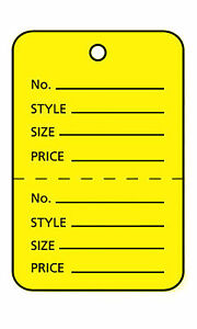3000 Perforated Tags Price Sale 1 X 1 Two Part Yellow Unstrung Tag Small