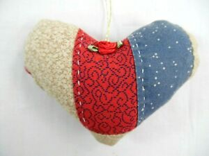 Antique Primitive 4 1 2 Hand Quilted Hanging Valentine Heart Ornament 2