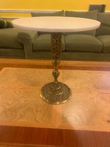 Vintage Pierced Ornate Brass Plant Stand Side Accent Table