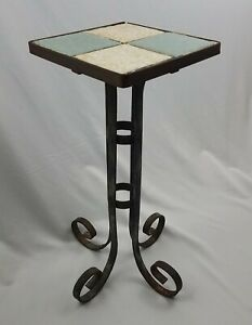 Vintage Wrought Iron Tile Top California Mission Table Plant Stand 19 Tall