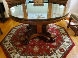 Antique Round Oak Table With Lions And Claw Feet