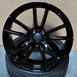 Vw Golf R Style 19x8 5 5x112 Et45 Gloss Black Wheels Set Of 4 Rims