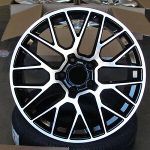 Porsche Macan Style 20x9 10 5x112 Et26 19 Black Machined Face Staggered Wheels