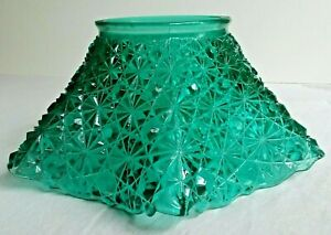 Vintage Antique Emerald Green Lamp Shade Ruffled Button And Stars Pressed Glass