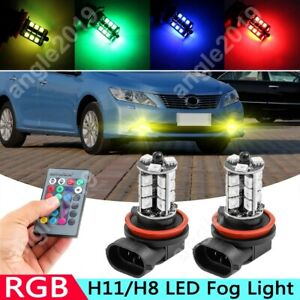 2x For Toyota Camry 2007 2014 Wireless Ir Remote Multi Color H11 Led Fog Lights