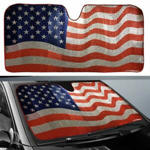 Car Sun Shade Windshield American Flag Keep Vehicle Cool Best Uv Ray 63 x 28 5