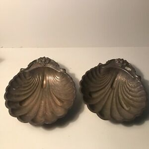 Antique Matching Pair Of Sea Shell Style Ornate Dish International Silver Co