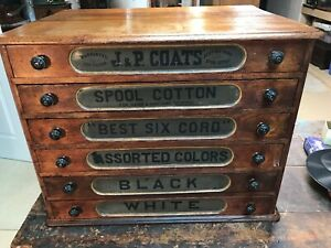 Antique Country Store Display J P Coats Six Drawer Cherry Spool Cabinet