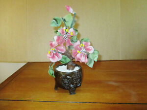 Vintage Asian Glass Bonsai Tree W Pink Flowers Jade Green Leaves 10 5 T X 5 W
