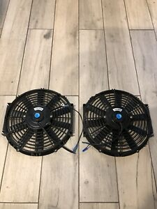 12 Electric Fan Pair 2x Push Pull Radiator Cooling 12v Mount Kit Used Good