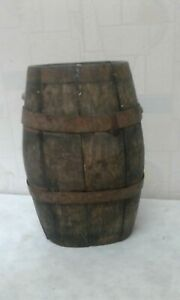 Rare Antique Old Hand Carved Iron Banded Wooden Canteen Flask Keg