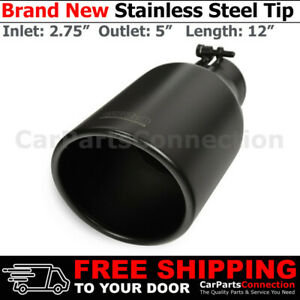 Universal Stainless Deisel Angled Black 12 In Exhaust Tip 2 75 In 5 Out 255831