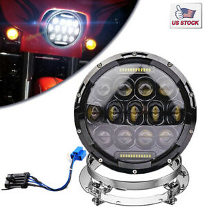 7 Round Cree Led Headlight With Mounting Ring For Harley Softail Deluxe Flstn