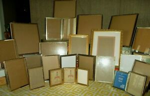 Vintage Set Of 21 Double Hinged Trifold Gold Gilted Metal Art Picture Frames Lot
