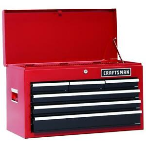 Red Craftsman 26 In 6 drawer Heavy duty Ball Bearing Top Chest Tool Box Storage