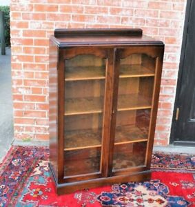 Antique Art Deco Glass Door Oak Wood Bookcase 3 Shelf Display Cabinet