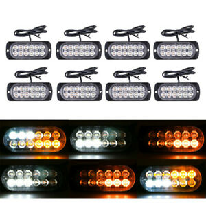 8x Amber Yellow 6led Emergency Hazard Warning Flash Strobe Light Beacon Caution