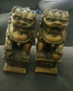 Vintage Pair Of Heavy Chinese Foo Dog Statues Lions Bookends Guardians