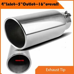 Diesel Stainless Steel Polish Exhaust Tip Bolt On 4 Inlet 7 Outlet 18 Long 45